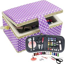 Sewing Basket with Sewing Kit Accessories (Purple,
