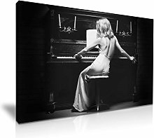 Sexy Lady Piano Canvas Wall Art Picture Print