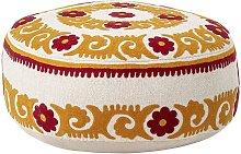 Seyches orange cotton pouffe