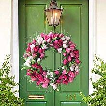 SH Tulip Door Wreath Fireplace 50cm Artificial