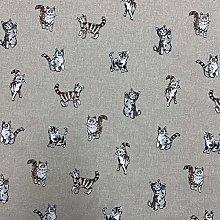 Shabby Animals Cats Design Cotton Rich Linen Look