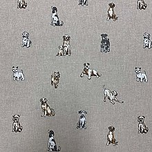 Shabby Animals Dogs Design Cotton Rich Linen Look