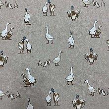 Shabby Animals Duck Design Cotton Rich Linen Look