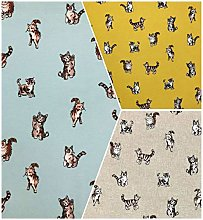 Shabby Cats Design Cotton Rich Linen Look Fabric