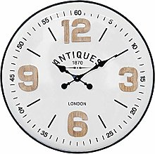 Shabby Chic Antiques Wooden Wall Clock with White