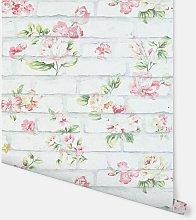 Shabby Chic Brick Pink & White Wallpaper -