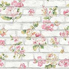 Shabby Chic Brick Whitewashed Pink Yellow Flowers