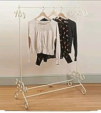 Shabby Chic Cream Clothes Garment Rail Metal