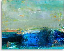Shades of Blue Abstract Canvas Print, 61 x 81cm,