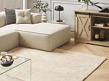 Shaggy Area Rug Beige 160 x 230 cm Modern