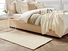 Shaggy Area Rug Beige 80 x 150 cm Modern High-Pile