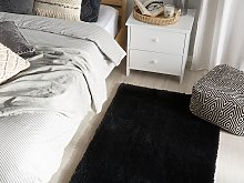 Shaggy Area Rug Black Cotton Polyester Blend 80 x