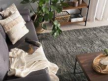Shaggy Area Rug Dark Grey Cotton Polyester Blend