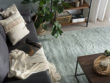 Shaggy Area Rug Green Cotton Polyester Blend 140 x