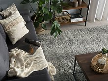 Shaggy Area Rug Grey Cotton Polyester Blend 160 x