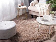 Shaggy Area Rug High-Pile Carpet Solid Beige