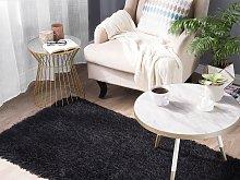 Shaggy Area Rug High-Pile Carpet Solid Black