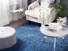 Shaggy Area Rug High-Pile Carpet Solid Blue