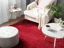Shaggy Area Rug High-Pile Carpet Solid Red