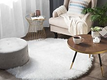 Shaggy Area Rug High-Pile Carpet Solid White