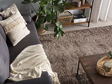 Shaggy Area Rug Light Brown Cotton Polyester Blend