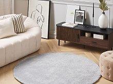 Shaggy Area Rug Light Grey 140 cm Modern High-Pile