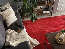 Shaggy Area Rug Red Cotton Polyester Blend 140 x