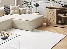 Shaggy Area Rug White 140 x 200 cm Modern