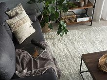 Shaggy Area Rug White Cotton Polyester Blend 140 x