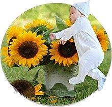 Shaggy Circular Rug for Nursery Room Kids