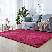 Shaggy Rug 110 x 140 cm Red Hairy Washable Carpet