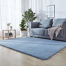 Shaggy Rug 90 x 180 cm Blue Plain 3cm Thick Soft