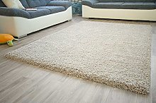 Shaggy Rug Funny Luxus Silver White Very Thick