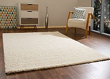Shaggy Rug Happy Soft Touch Cream Non Shedding