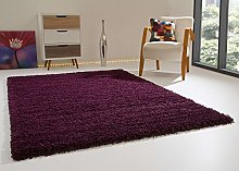 Shaggy Rug Happy XL Soft Touch Aubergine Thick Non