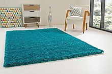 Shaggy Rug Happy XL Soft Touch Turquoise Thick Non