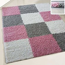 Shaggy rugs Fluffy Rug Square Design Multicolour