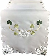 Shamrock Table Runner with Cutwork Detail Dining