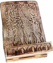 Shared Earth Mango Wood Cookbook Holder, Carved