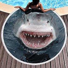 Shark Printed Round Beach Towel Yoga Picnic Mat