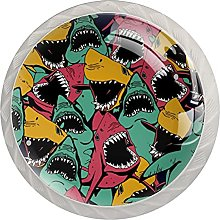 Sharks 4 Pieces Round Cabinet Knobs with Screws