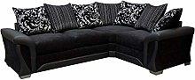 Sharon Corner Sofa Black Fabric Leather RIGHT