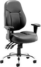 Sharp Leather Faced Operator Chair, Black, Free