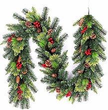 SHATCHI 2m Lit Christmas Tree Garland Green Pre