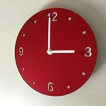 Shatterproof Round Wall Clock - Red Mirror