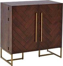 Shaula Wooden 2 Doors Drinks Cabinet In Brown