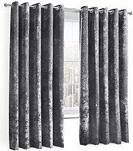ShawsDirect Charcoal Crushed Velvet Curtain -