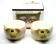 Sheep Egg Cup Set 6 x4 cm Ceramic Pair of Egg Cup