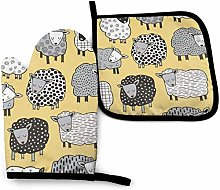 Sheep Oven Mitt Cooking Gloves and Pot Holder with