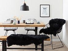Sheepskin Rug Black 65 x 110 cm Natural High Pile
